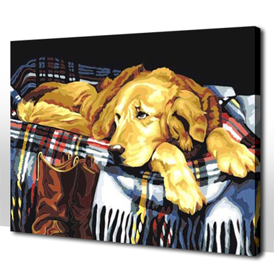 Happy Mania diy digital painting animal Retriever dog Specials 4050 classic yellow dog