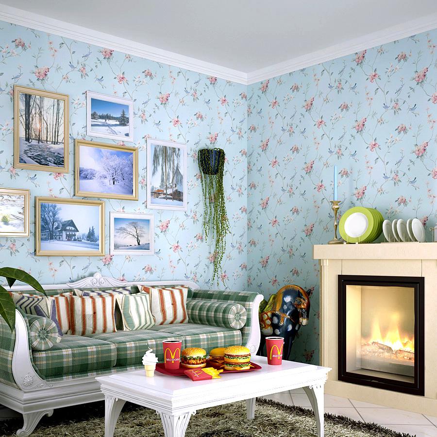 雁归来 墙纸 美式田园 田园大花壁纸 卧室大满铺 客厅 沙发背景墙图片