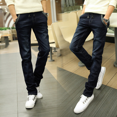 Spring stretch jeans male taxi fertilizer XL Korean Slim shallow tidal leisure feet long pants trousers