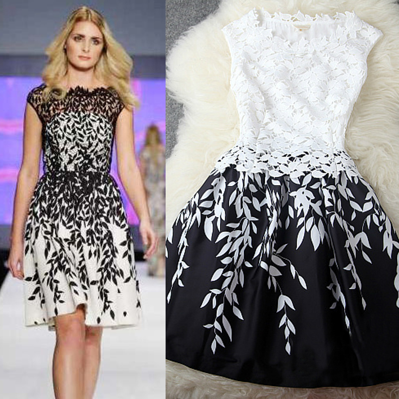 2014春季欧美大牌高端精品蕾丝立体图案树叶印花宽松连衣裙