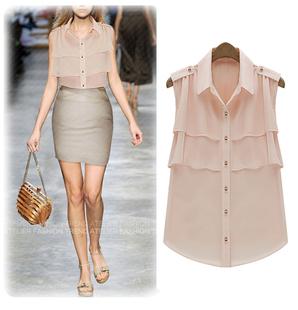 2014夏装女装大码荷叶边无袖欧美风立领开衫雪纺衫衬衫衬衣女
