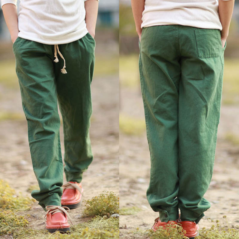 ABC Cotton Solid Loose Low Rise Casual Men Trousers