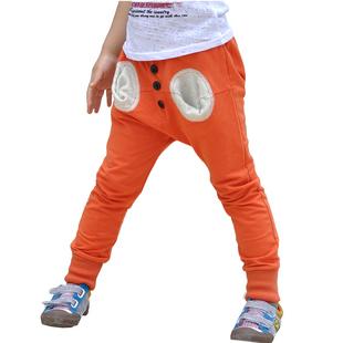夏季新款童裤个性口袋儿童男童纯棉休闲哈伦/灯笼跨裤F-1218