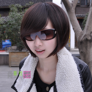 Black hair short hair Bobo wigs female students head inclined female fatao student fashion fringe hair design