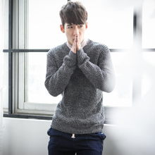Autumn outfit new Japanese simple pure color pullovers men shag line sweater sweater men's cultivate one's morality
