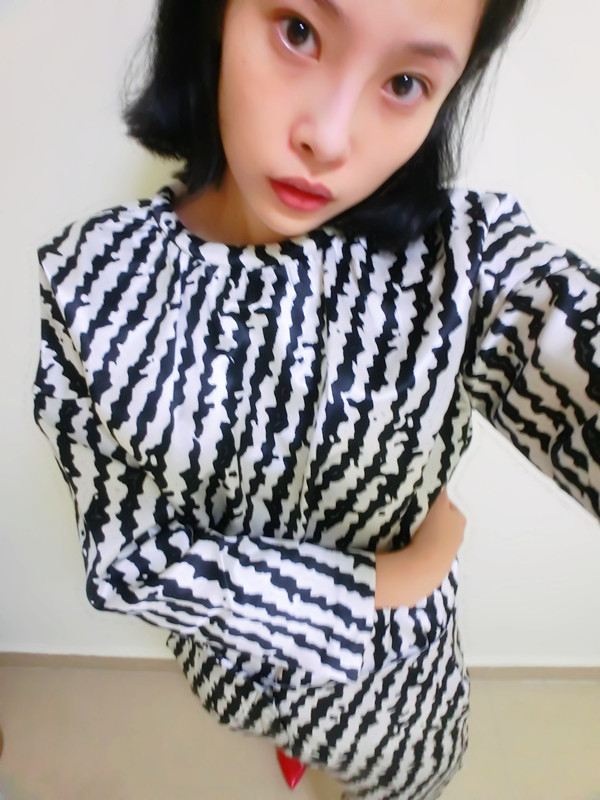 женская рубашка Гонконг импорта магазин YSL с классической черно-белая зебра косой полосатый Шелковые брюки костюм для продажи