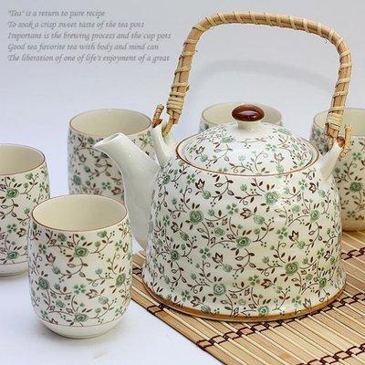 绝对超值-景德镇陶瓷正品7头提梁家用大茶具套装-韩式田园小碎花