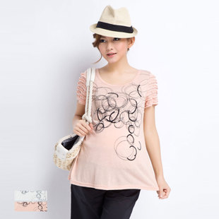 October Mummy maternity dresses summer genuine Korean t-shirt short sleeve round neck beads embroidery in pregnant women