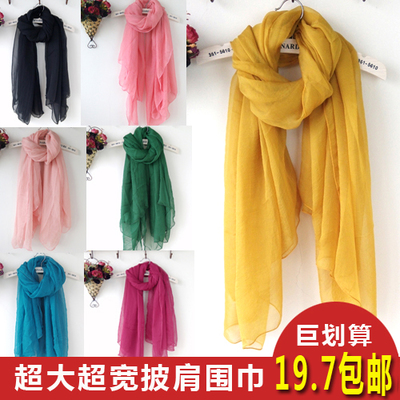 Free shipping autumn new oversized silk chiffon scarf shawl wide import solid wild long scarf female
