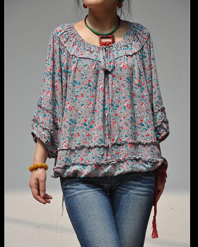 женская рубашка «Пели и «жира 5 минут должно быть чистый хлопок цветочные печати дерева уха шнурок рубашку с широкими рукавами блузки/2 цвета Повседневный Рисунок в цветочек Оборка