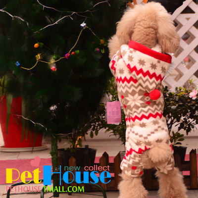 Special New Year's snow or thick head fleece booties festive four small dog clothes pet clothes Teddy