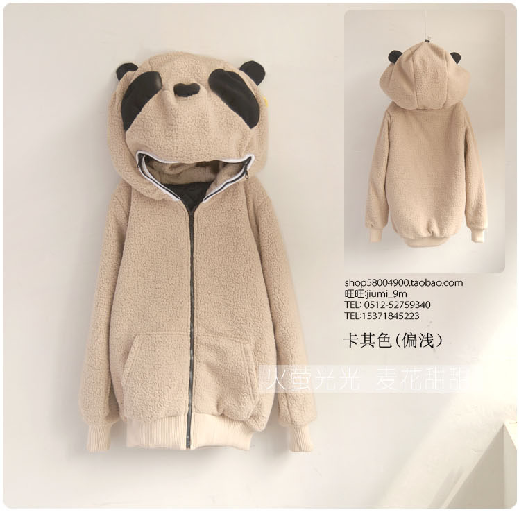 Special vivi autumn female Korean cartoon panda Plush warm sweater coat cardigan / ears hat