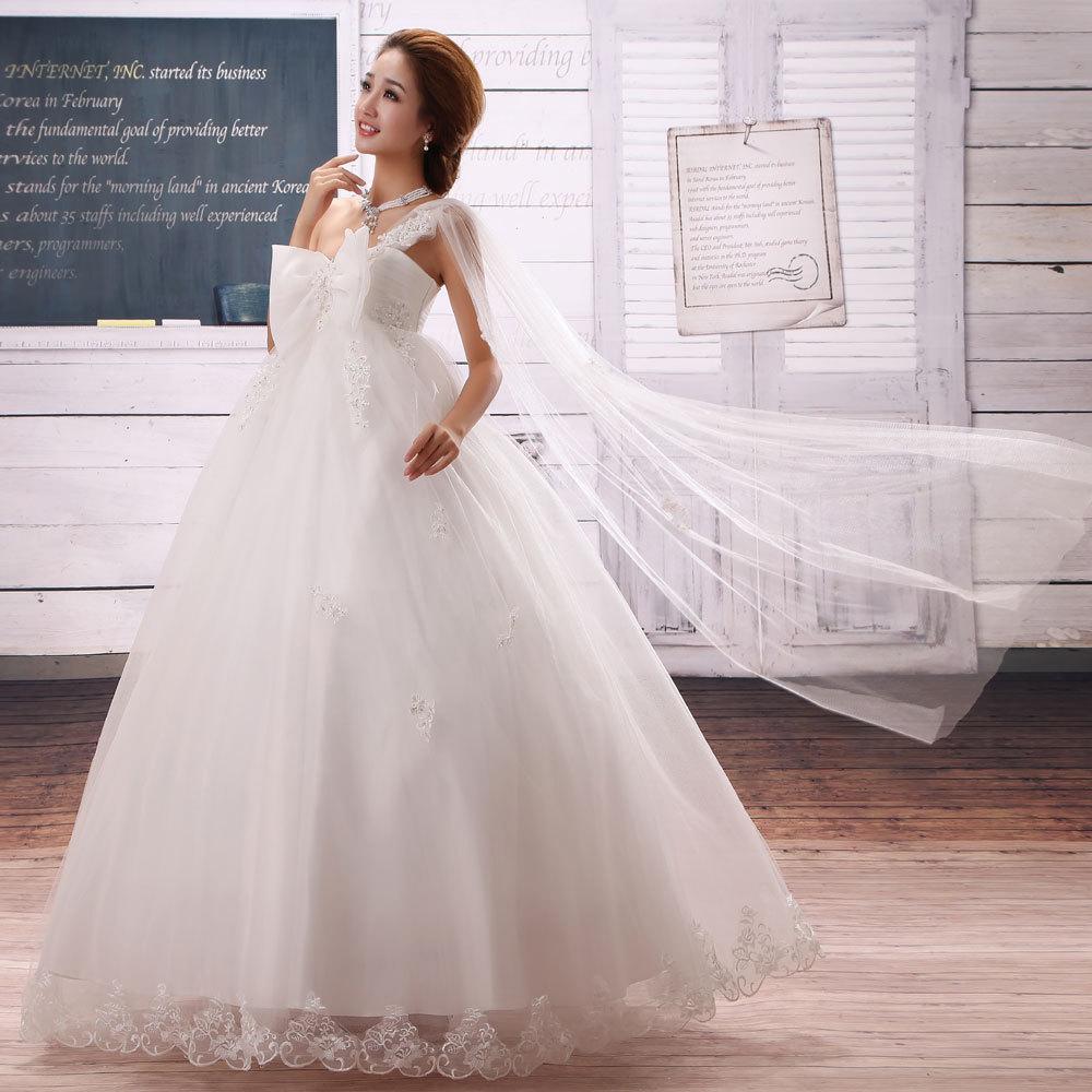 新款孕妇婚纱韩版高腰绑带单肩大码婚纱礼服胖mm定制结婚礼服裙女