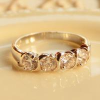 susmary韩国饰品 四颗水钻戒指女时尚食指戒水晶宝石无名指环保色