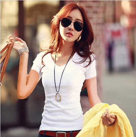 2014 Pure color female money short sleeve v-neck T-shirt tight ms cotton shirt render unlined upper garment