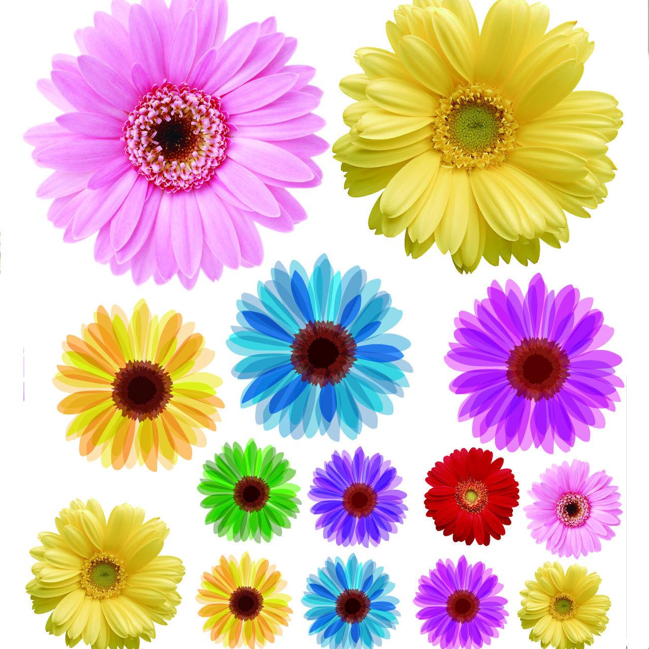 Наклейка на стену 9.9 19 Плоские стикеры Цветы