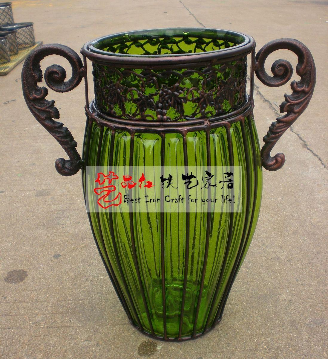 艺品红 欧式田园 铁艺 玻璃 花瓶 水培 桌面富贵竹花瓶