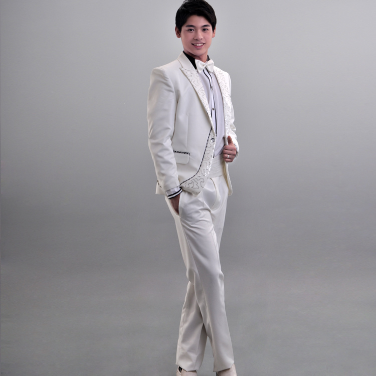 The new men's dress marriage ceremony emcee Korean host dress performance clothing tuxedo
