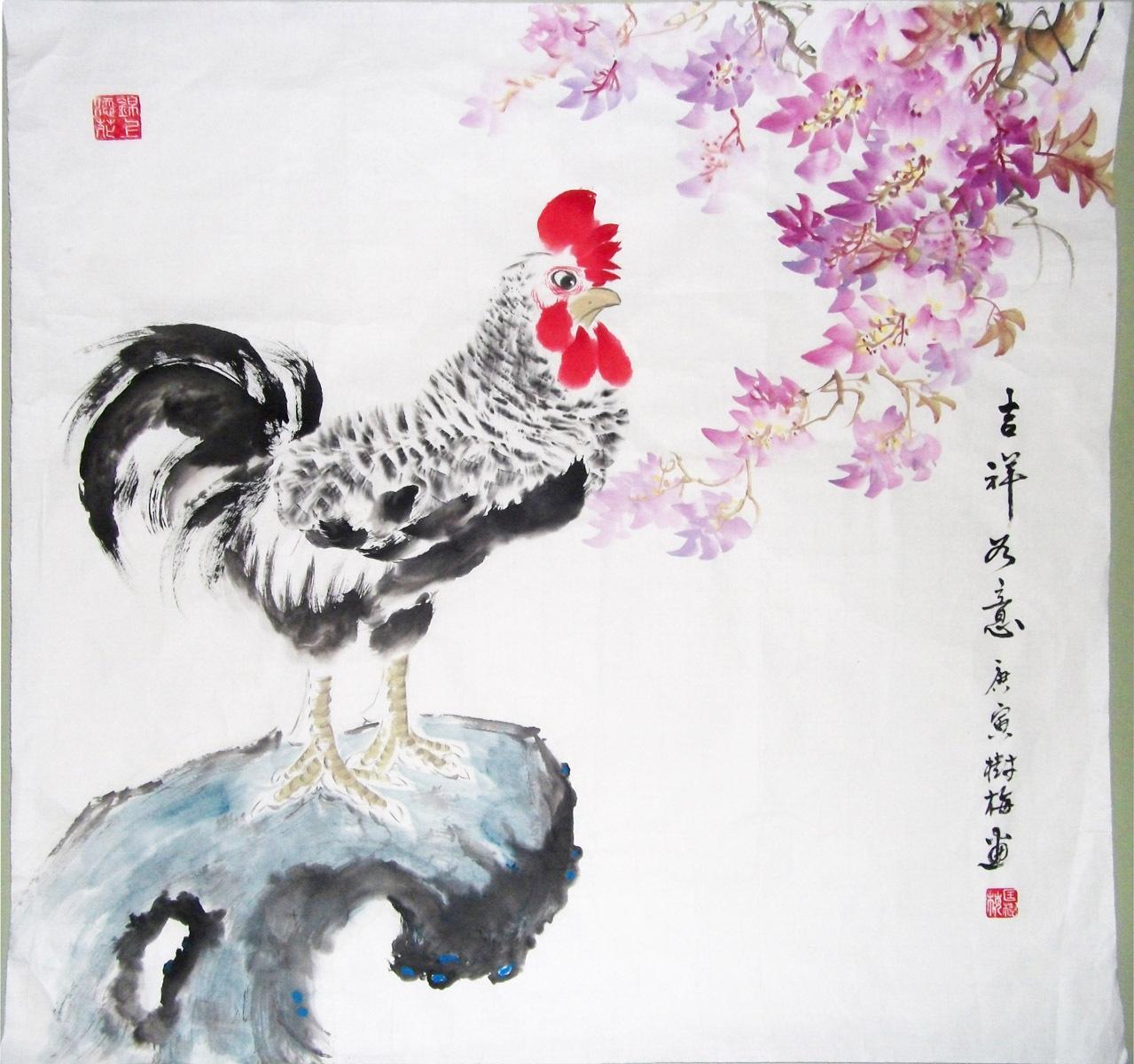 国画写意鸡图片_国画鸡紫藤 画 二尺斗方 写意鸡《吉祥如意》_yutengy1