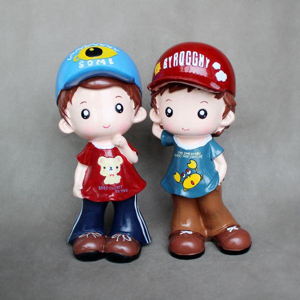 棒球男女情侣卡通公仔储蓄罐 可爱 创意 大号 树脂摆件礼品工艺品