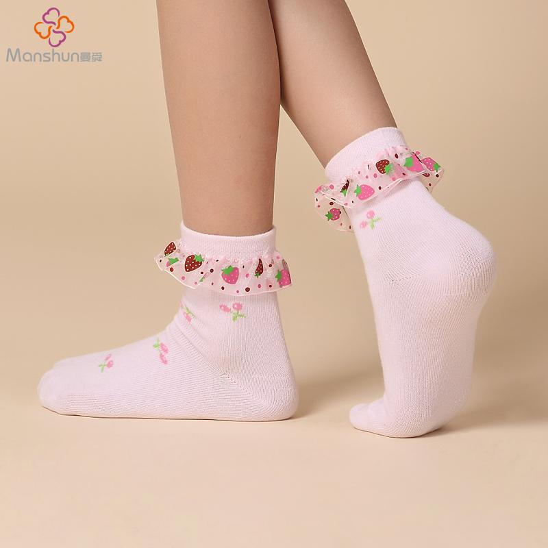 【连身袜】春夏季女童袜子花边薄款纯棉袜 透气儿童蕾丝花边无骨公主袜短袜