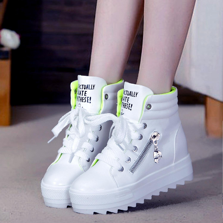 2014春款白色内增高厚底松糕鞋时尚休闲女鞋高帮鞋运动鞋女韩版潮