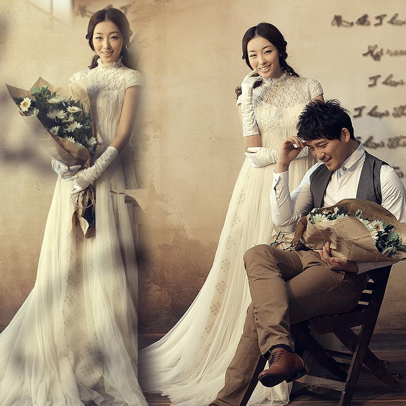 Свадебное платье Chunhuaqiuyue hs121 2013 2012 Сетчатый материал Небольшой шлейф Корейский