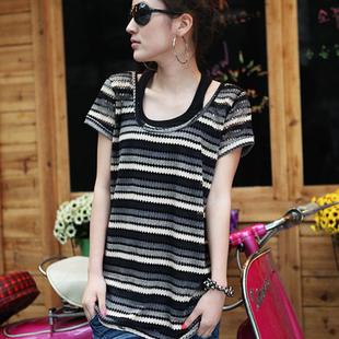 2011新款短袖T恤短袖韓版女裝2011夏季短袖兩件套純棉個性條紋229