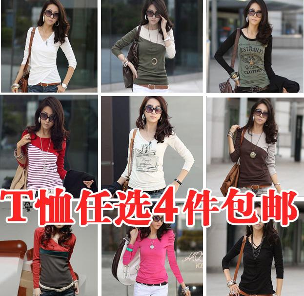 2012 春装新品新款 韩版女装百搭圆领修身长袖T恤打底衫 4件包邮