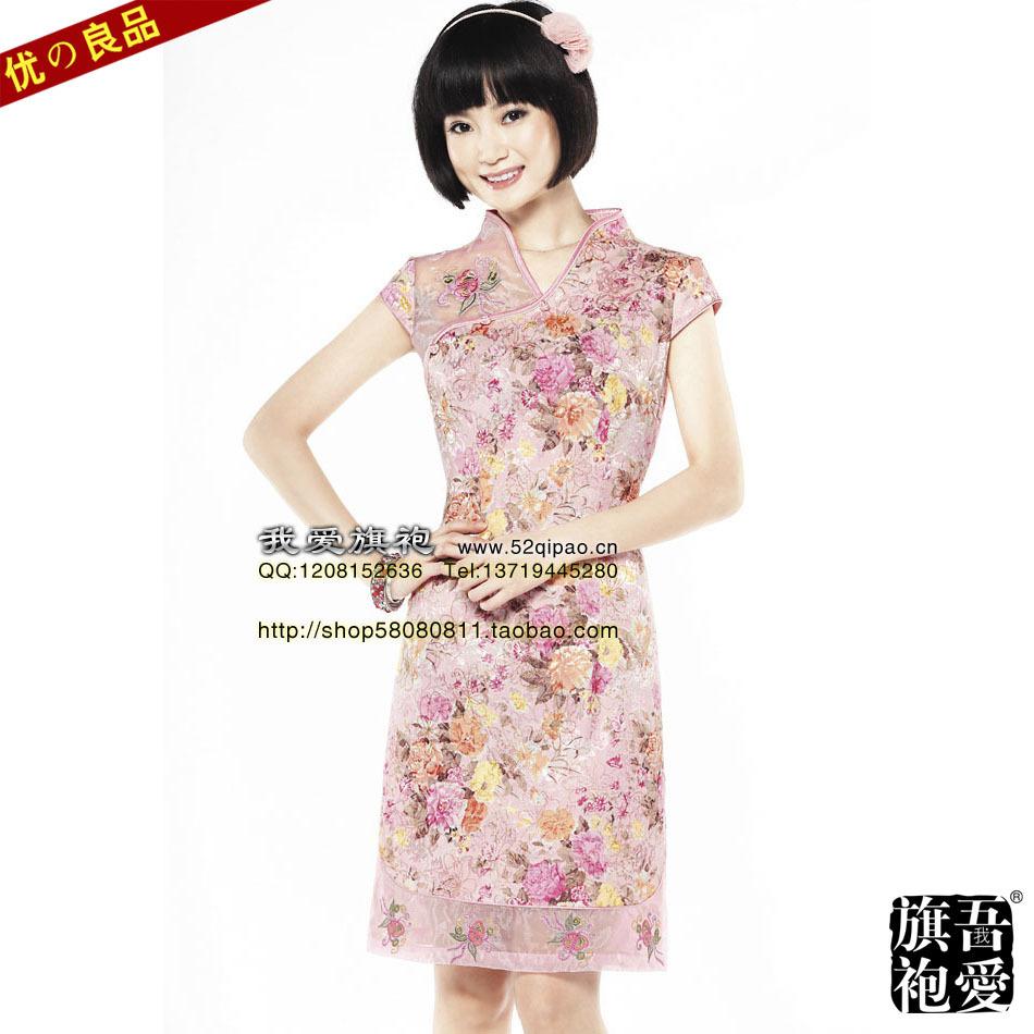 Платье Ципао Новое в лето лето 2012 Китайский Тан костюм моды улучшена тонкий юбка с вышивка кружева дамы элегантный