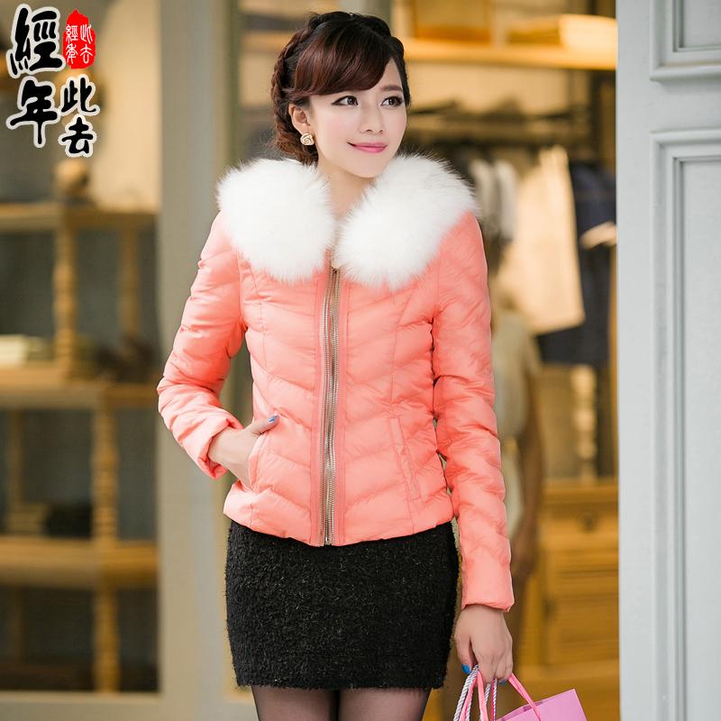 此去经年2014冬装新款韩版短款修身时尚棉衣女装外套毛领棉服棉袄