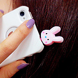 [5132] Korean cellphone anti dust plug powder rabbit silicone iphone4 anti dust plug headsets plug