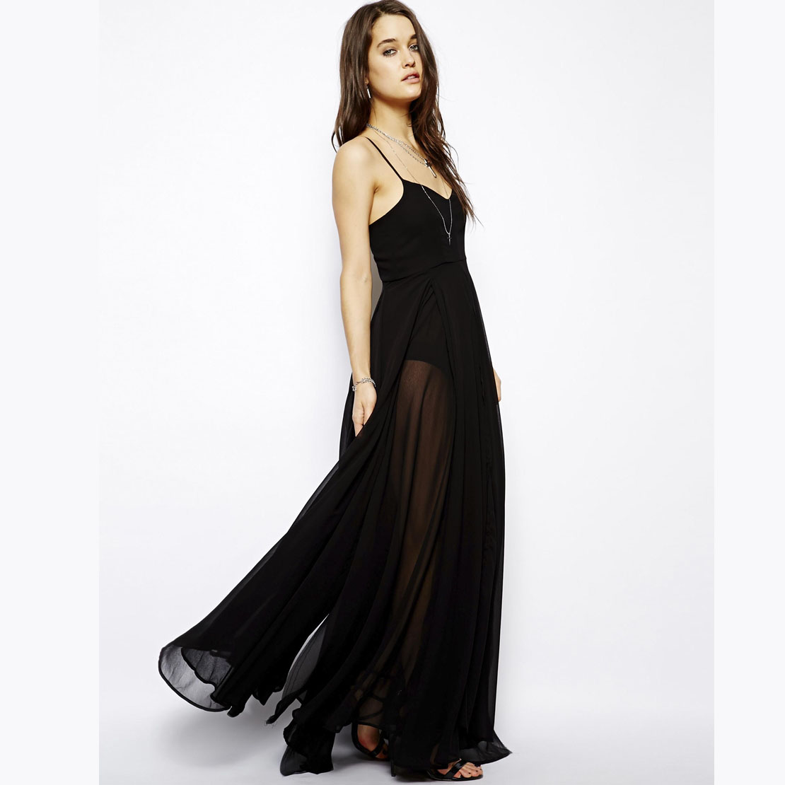 Wide skirt lined with black suspenders perspective has long paragraph and to dress dress skirt haoduoyi