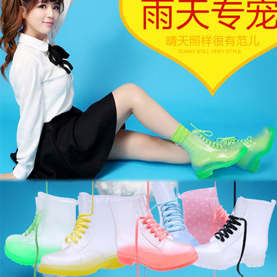Spring and summer women's fashion jelly water shoes rain boots Duantong female Korean transparent rain boots boots Martin boots
