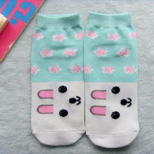兔兔小铺淡禁忌兔头蓝色袜子少女船袜穿搭卡通女生图片