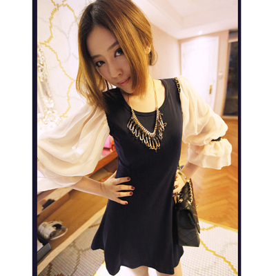 The new 2015 ms han edition South Korea women's fashion students chiffon European horn long-sleeved navy blue dress