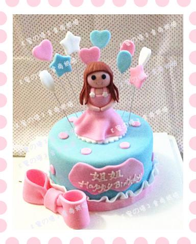 武汉翻糖蛋糕个性定制/可爱小女生 小美女造型翻糖蛋糕