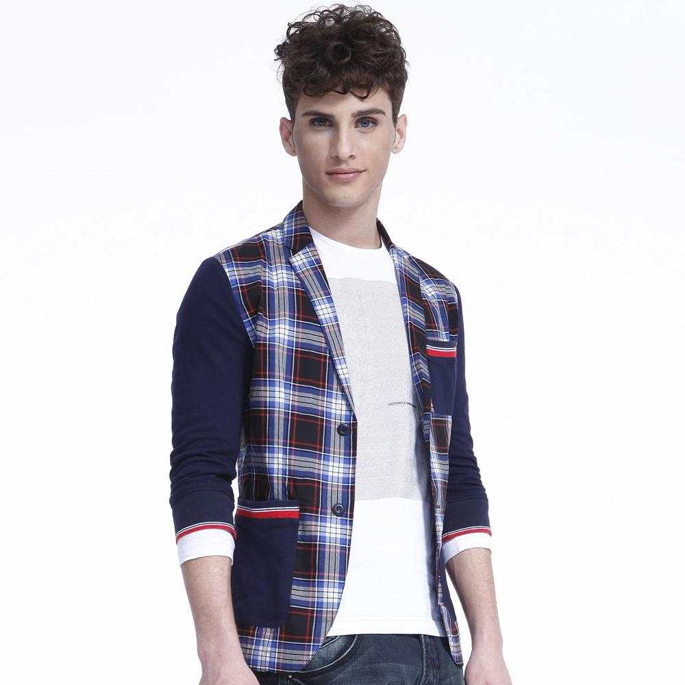 马克华菲专柜正品男装七分袖时尚格子西服7121517006