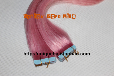 Cherry pink non-trace hair hair slice of 55 centimeters, 100% real hair, perfect hair, invisible hair extensions