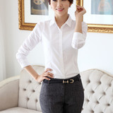 2014 spring new Korean style slim fit long sleeve shirt White OL professional shirt slim stretch shirt