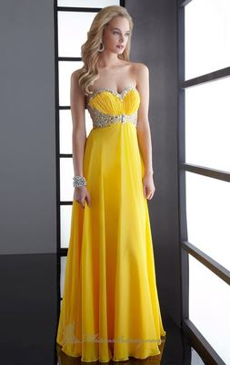 2014新款黄色伴娘礼服 prom dress Evening dress party dress