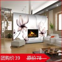 环丽特价环保墙纸黑白玉兰卧室客厅沙发电视背景壁纸自粘大型壁画