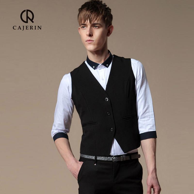 卡杰雷 男士夏季婚礼马甲男 薄款潮英伦风黑色马甲套装男 修身型