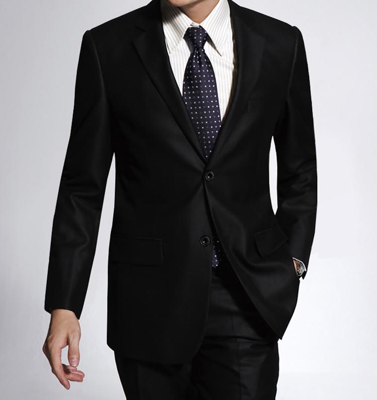 新款雅戈尔男士西装两扣韩版西服套装纯黑色商务职业正装结婚礼服