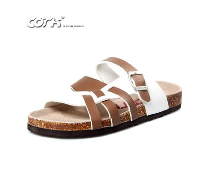 Genuine CORK Birkenstocks cork casual men's cross-Roman style blending heavy-bottomed sandals and slippers men's beach