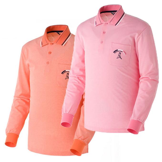 正品海外代购ping 橘黄色/粉红色高尔夫休闲男士长袖polo衫