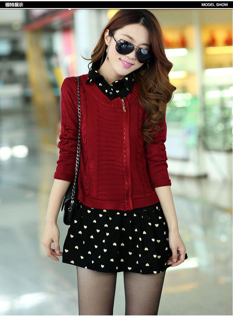 新款女春装 韩版针织开衫 潮流前线时尚百搭两件套连衣裙