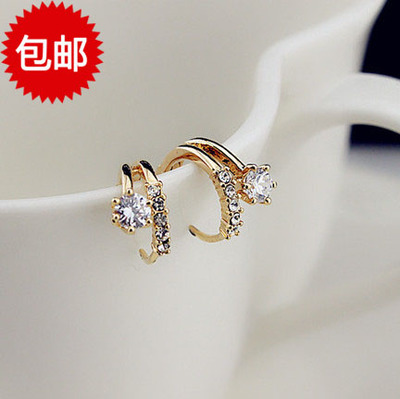 Lose money shipping Korea purchasing diamond fashion style double ring of small flowers girls zircon earring clasp ear ear ring