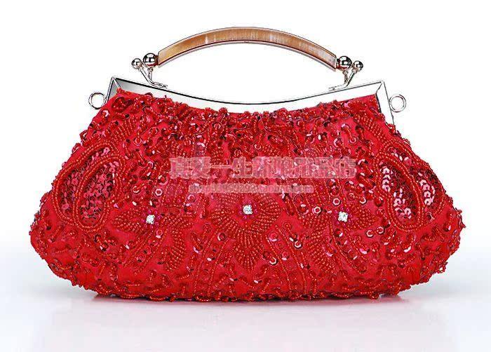 喜庆红色珠绣串珠伴娘新娘包晚装包晚宴包礼金包手提包手包  B029