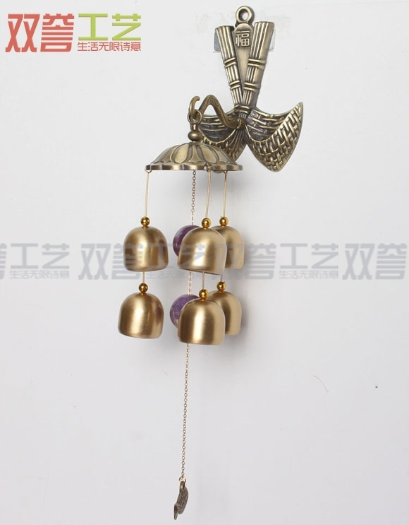 Китайские колокольчики Колокола ветер куранты 6 чистой меди метал Фу ложкой повезло дизайнер подвесные двери оформлены в японском стиле дверной звонок